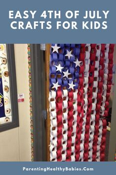 Check out this inspiring collection of 20 patriotic craft and decoration ideas. They re perfect for memorial day the of july all summer long. Here just a quick decoration the lighten up your holiday hope you enjoy. Summer Crafts, Holiday Crafts, School Doors, 4th Of July Party, July 4th, Fourth Of July Crafts For Kids, February, 4th Of July Decorations, Memorial Day Decorations