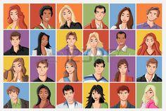 rosto: Faces da Moda dos desenhos animados jovens.