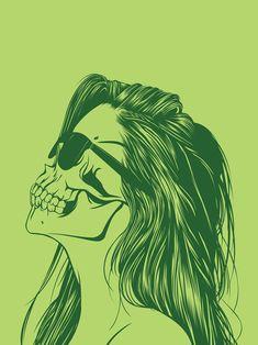 Creative Illustration, Skull, Girls, Pt, and 1 image ideas & inspiration on Designspiration Art Pop, Pop Art Vintage, La Danse Macabre, Girl Skull, Tumblr Hipster, Hipster Art, Drawn Art, Jasper Johns, Tattoo Motive