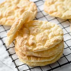 """Cloud bread is a great substitute for bread on the ketogenic diet. The term """"cloud"""" comes from the fact that its quite light and fluffy tasting, which comes from the egg whites being mixed and folded into the rest of the recipe. Best Low Carb Bread, Low Carb Keto, Low Carb Recipes, Cooking Recipes, Soup Recipes, Dinner Recipes, Healthy Recipes, Bread Bun, Keto Bread"""