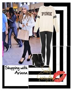 """""""shopping with ariana"""" by nicole-wu03 ❤ liked on Polyvore featuring West Elm, Topshop, Victoria's Secret PINK, shopping, ArianaGrande, ariana, ShoppingWithAriana and shoppingwithari"""