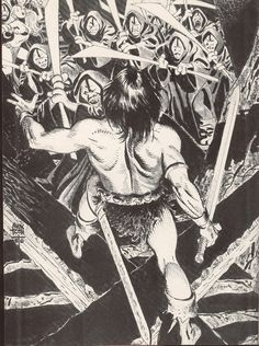 the Conan Portfolio, by Alex Toth. this was originally published as a PinUp gallery in the Savage Sword of Conan the Barbarian, Vol. Comic Book Artists, Comic Artist, Comic Books Art, Red Sonja, Manga Illustration, Illustrations, Conan Der Barbar, Alex Toth, Dc Comics Superheroes