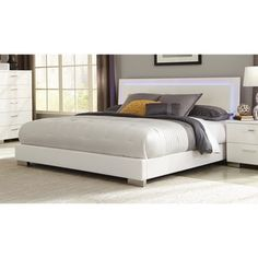 Coaster Company Felicity White LED Lighting Platform Bed - Free Shipping Today - Overstock.com - 19202545 - Mobile