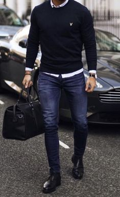 the bag and the skinny jeans and is a great . -Loose the bag and the skinny jeans and is a great . Stylish Mens Outfits, Casual Outfits, Fashion Outfits, Fashion Styles, Fashion Ideas, Fashion Trends, Winter Outfits, Casual Jeans, Men's Fashion Tips