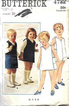 Butterick 4732 Girls And Boys Jumper And Jumpsuit Pattern, Size 1 by DawnsDesignBoutique on Etsy