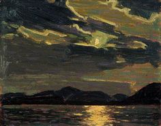 Hot Summer Moonlight ~ Tom Thomson, Group of Seven Emily Carr, Group Of Seven Artists, Group Of Seven Paintings, Canadian Painters, Canadian Artists, Nocturne, Landscape Art, Landscape Paintings, Tom Thomson Paintings