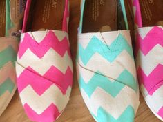 Natural Canvas TOMS w/ Teal Chevron Design by FreckandMe on Etsy, $80.00