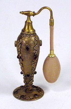 Antique Jeweled Color Rhinestone Bronze / Brass Perfume Bottle Atomizer Czech