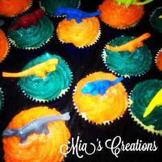 Dinosaur cupcakes ~ vanilla with choc centre filling!!