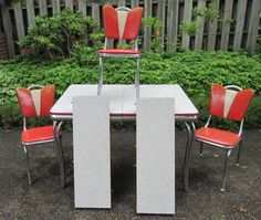 Vtg 1950s Retro Chrome Kitchen Table 3 Chairs Cracked Ice Top Red Gray 2 Leaves