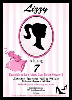 Crossing the Bugger-Dixon Line: Vintage Barbie Pajama Glam Party Vintage Barbie Party, Barbie Theme Party, Barbie Birthday Party, 5th Birthday Party Ideas, Party Themes, 7th Birthday, Paris Birthday, Vintage Invitations, Printable Invitations