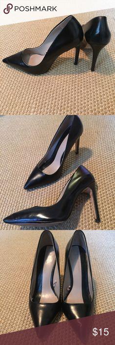 ZARA black leather high heels size 36 Zara black leather high heels size 36. Barely worn. Pre-owned by overall very very good condition. Zara Shoes Heels