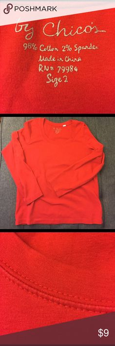 """Red Chico's long sleeve top, with nice scoop neck. Red cotton top, a nice heavy jersey .. """"by Chico's"""". Size 2 - translating into a 12/14.  Last photo shows a light spot, which is seen on/off depending on lighting. Chico's Tops Tees - Long Sleeve"""