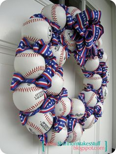 I need one of these with yellow softballs and baseballs with orange and black ribbon of course. Baseball Wreath by Shannon Makes Stuff