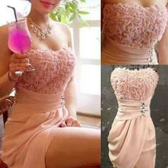 Amazing peach bridesmaid dress - love the textured top and the bottom will hide body flaws Peach Bridesmaid Dresses, Bridesmade Dresses, Pink Party Dresses, Dresses To Wear To A Wedding, Prom Dresses, Pink Dress, Bridesmaids, Wedding Attire, Formal Dresses