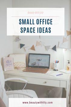 Small Office Ideas & Organization // Office Ideas // Office Decor // Girly Office Space // Blush Office // Small Office Decor // Home Office Small Office Decor, Small Space Office, Home Office Decor, Small Spaces, Office Ideas, Co Working, Home Office Design, Office Organization, Home Hacks