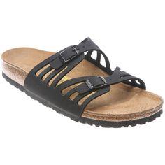 Birkenstock Women's Granada Birkibuc Sandals ($135) ❤ liked on Polyvore featuring shoes, sandals, black birkibuc, black evening sandals, special occasion shoes, black shoes, cut out sandals and evening sandals