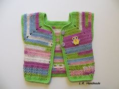 Crochet Newborn Baby Girls Vest 0 to 3 Months by ladybird113