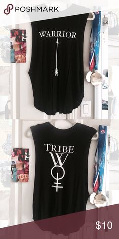 Warrior tribe tank top Black flowy tank top from a local artist in LA Tops Tank Tops