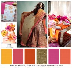Orange Yellow Fuchsia Indian Wedding Palette, featuring our Starry Nights invitation