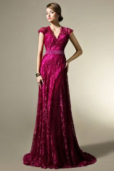 Modest Lace A-line V-neck Evening Dress with Cap Sleeves