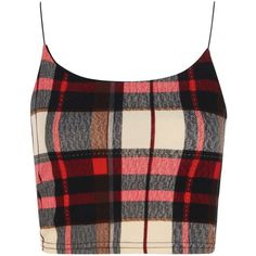 Boohoo Imogen Elastic Spaghetti Strap Tartan Check Crop ($10) ❤ liked on Polyvore featuring tops, crop tops, shirts, tanks, rayon shirts, plaid shirt, rayon tops, shirt crop top and shirts & tops