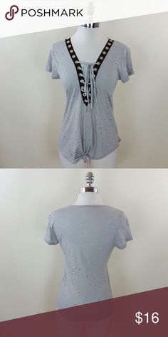 Tie front gromet lace up holey top Tie front grommet holey top  95% rayon 5% spandex Tops Blouses