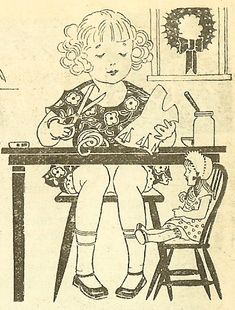 Sewing Doll Clothes, ca. 1920s