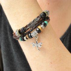 GIFT FOR HER Boho Leather Bracelet Dragonfly by AmysLeatherLane