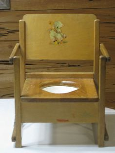 Genial 1950u0027s Vintage Wood Foldable Potty Chair With Bowl Made By Hedstrom Dothan,  Al