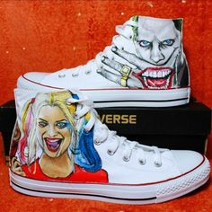 Ideas For Sneakers Custom Diy Christmas Gifts Converse All, Custom Converse, Custom Sneakers, Custom Shoes, Joker Converse, Painted Canvas Shoes, Painted Clothes, Hand Painted Shoes, Harley Quinn