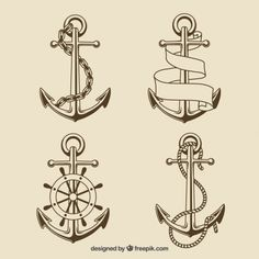 Sailor Anchor Set by supernovanastasia New Tattoos, Tatoos, Tattoo Homme, Anchor Drawings, Anchor Tattoos, Tattoo Flash Art, Nautical Art, Retro, Vector Free