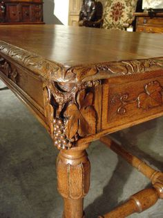 Beautiful Antique French Oak Table with Wine Grape Motifs | From a unique collection of antique and modern tables at https://www.1stdibs.com/furniture/tables/tables/