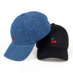 New Cherry Fruits Embroidered Snapback Baseball Cap Dad Hats Man   Women  Denim Blue bone Caps Adjustable Curved Hats for Travel cdf5907688fa
