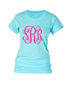 Monogram Shirt Monogrammed Shirt Tee Shirt TShirt, Huge Monogram, Preppy, Monogrammed gifts, Bridesmaids,Women, Girls, Teens,