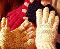 Convertible Fingerless Crochet Gloves pattern Men and womens sizes too. Great 4 touch screen phones in winter