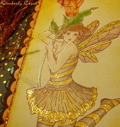 Bee fairy fantasy art rubber stamped bookmark color pencil, glitter, gel pen, versafine brown ink, artwork by Kimberly Crick.