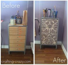 Use fabric and Mod Podge to upcycle an old organizing cabinet. This project is really easy - completely make over your furniture with this technique!