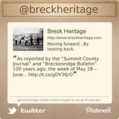 The Breckenridge Heritage Alliance is on Twitter @breckheritage's Twitter profile courtesy of @Pinstamatic (http://pinstamatic.com)