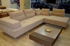 Καναπές γωνία ύφασμα με τραπεζάκι