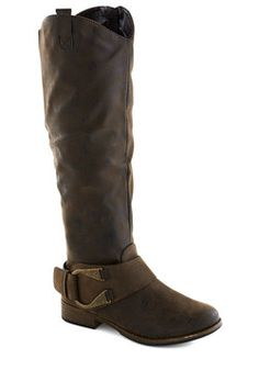 Brownstone Bash Boot. For a party of historic proportions, these tall, brown boots will do the trick! #brown #modcloth