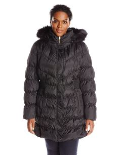London Fog Womens Plus-Size Mid-Length Faux-Fur Collar Down Coat with Hood 1X Gunmetal