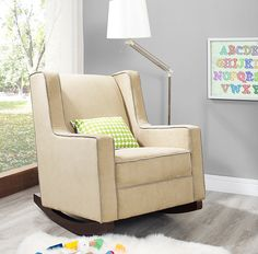 The Baby Relax Abby Rocker in beige is a great seating solution for those looking for a contemporary rocker with traditional features!