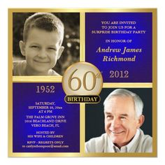 Shop Blue Gold Adult Birthday Invite Then-Now created by th_party_invitations. Personalize it with photos & text or purchase as is! 90th Birthday Invitations, Surprise Party Invitations, 90th Birthday Parties, Photo Invitations, Gold Birthday, Birthday Celebration, Birthday Ideas, Invites, Invitation Cards