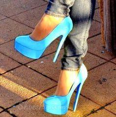 Elegant Blue Platform Heels