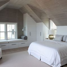Fabulous Modern Bedroom Interior Ideas - Page 20 of 49 Attic Master Bedroom, Attic Bedroom Designs, Attic Bedrooms, Bedroom Loft, Attic Bedroom Storage, Loft Storage, Upstairs Bedroom, Storage Ideas, Bedroom Ideas