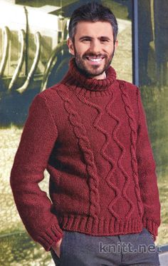 Вязаный пуловер для мужчины | knitt.net | Все о вязании Baby Knitting Patterns, Knitting Designs, Hand Knitting, Baby Sweaters, Cable Knit Sweaters, Sweater Outfits, Men Sweater, Knit Mittens, Pulls