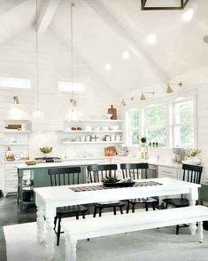 01 beautiful modern farmhouse dining room decor ideas in 201 Modern Farmhouse Interiors, Modern Farmhouse Plans, Modern Farmhouse Kitchens, Farmhouse Style Kitchen, Home Decor Kitchen, Kitchen Ideas, Rustic Farmhouse, Farmhouse Layout, Tiny Kitchens