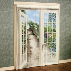 English Garden Trompe Window Art --  I love it!  Nothing like some Trompe l'oeil to expand one's surroundings.
