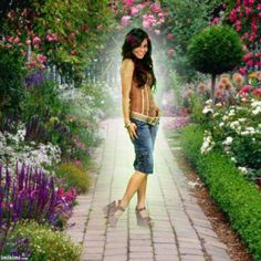 Click to add a photo of yourself in the middle of a beautiful garden. I love the flowers and trees! From imikimi pinned with Pinvolve - pinvolve.co